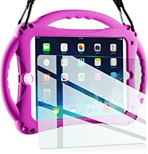 TopEsct Kids Case for New iPad 2017/2018 9.7 inch Case, Shockproof Silicone Handle Stand Case Cover&(Tempered Glass Screen Protector) For Apple iPad 6th/5th Generation and iPad Air (Purple)