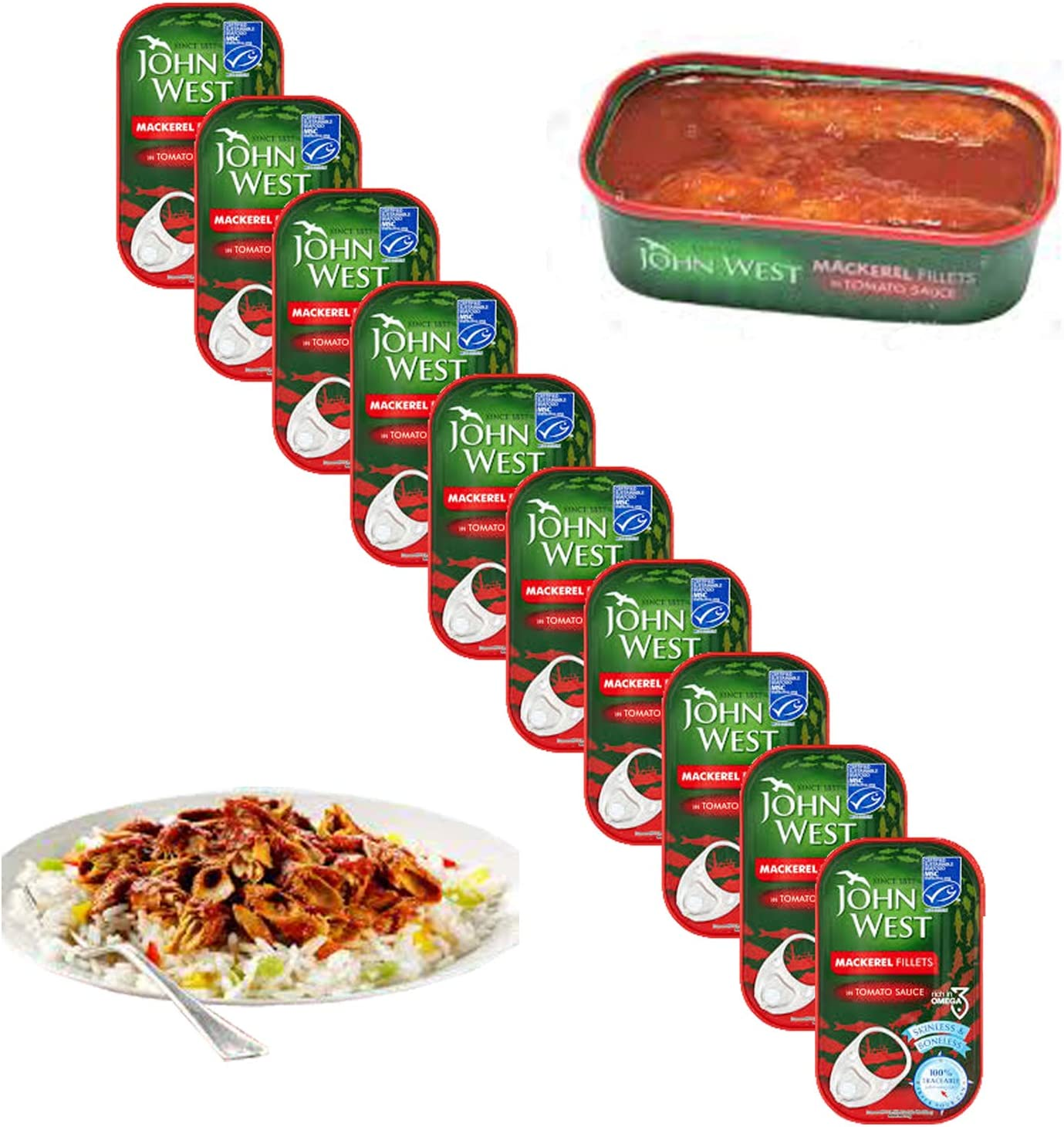 John West - Filetes de caballa en salsa de tomate (10 unidades)