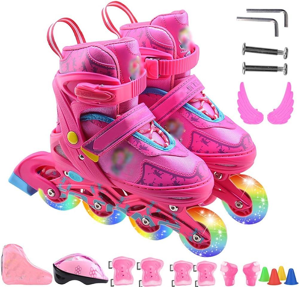 [ZCRFY] インラインスケート男の子女の子調整可能サイズローラースケートフラッシュローラー子供大人子供通気性ローラーブレードセット初心者向け幼児アイススケート ピンク*B S