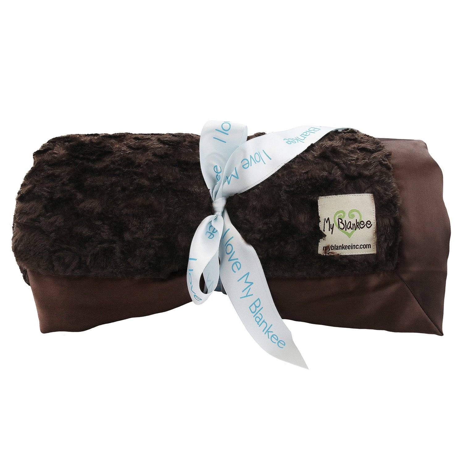 My Blankee Luxe Stone Throw Blanket with Flat Satin Border, Brown, 52'' X 60''