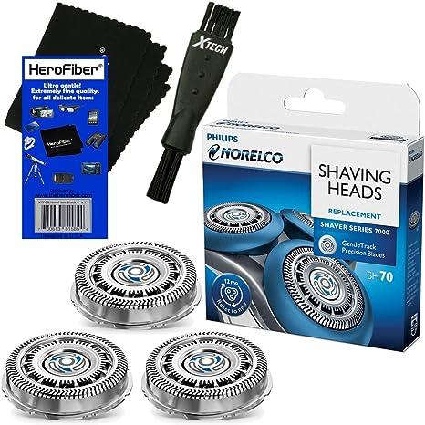 Philips Norelco SH70/52 – Cabezal de repuesto para afeitadoras Series 7000; S7370, S7371 & S7720 eléctrico + Afeitadora de doble punta cepillo + HeroFiber Ultra suave gamuza de limpieza: Amazon.es: Electrónica