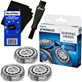 Philips Norelco SH70/52 Replacement Head for Series 7000; S7370, S7371 & S7720 Electric Shavers + Double Ended Shaver Brush + HeroFiber Ultra Gentle Cleaning Cloth