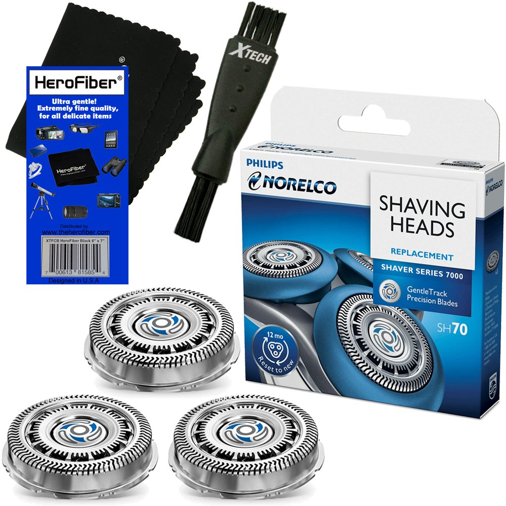 Philips Norelco SH70/52 Replacement Head for Series 7000; S7370, S7371 & S7720 Electric Shavers + Double Ended Shaver Brush + HeroFiber Ultra Gentle Cleaning Cloth by HeroFiber