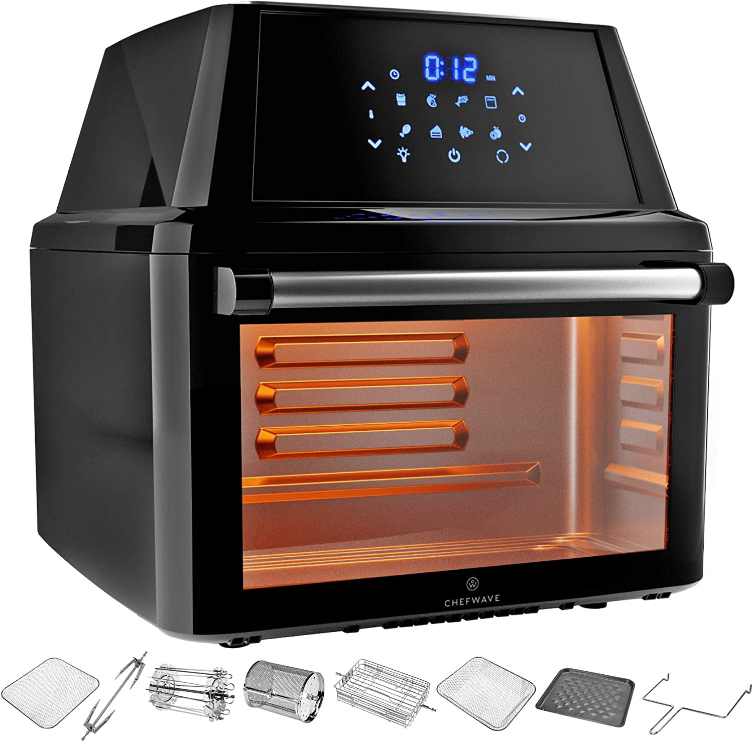 ChefWave Air Fryer Oven - 16 Quart Air Fryer, Rotisserie, Dehydrator Combo Oven - Deluxe Countertop Cooker with 10 Skewers, Baking Steak and Fish Cage, Rack, Trays, Cooking Accessories, Recipes