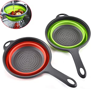Colanders,Collapsible Colander Sets,2 Kitchen Silicone Collapsible Strainer with Handles, Space-Saver Folding Strainer Colander,Perfect for Draining Pasta,Vegetable,fruit, 2 quart (Green&Red)