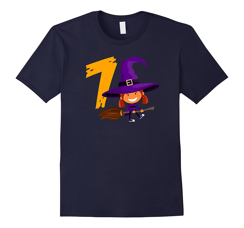 7th Birthday Cute Witch Girl Halloween T-Shirt Born In 2010-T-Shirt