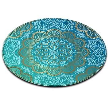 Attractive LB Tapis Rond, Bleu Clair, Fleur, Modèle De Mandala Salon Chambre Salle De
