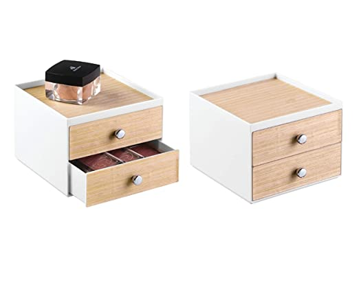 InterDesign RealWood organizador de maquillaje pequeño | Caja organizadora para cosméticos con 2 cajones | Mini cajonera para tocador o baño | ...