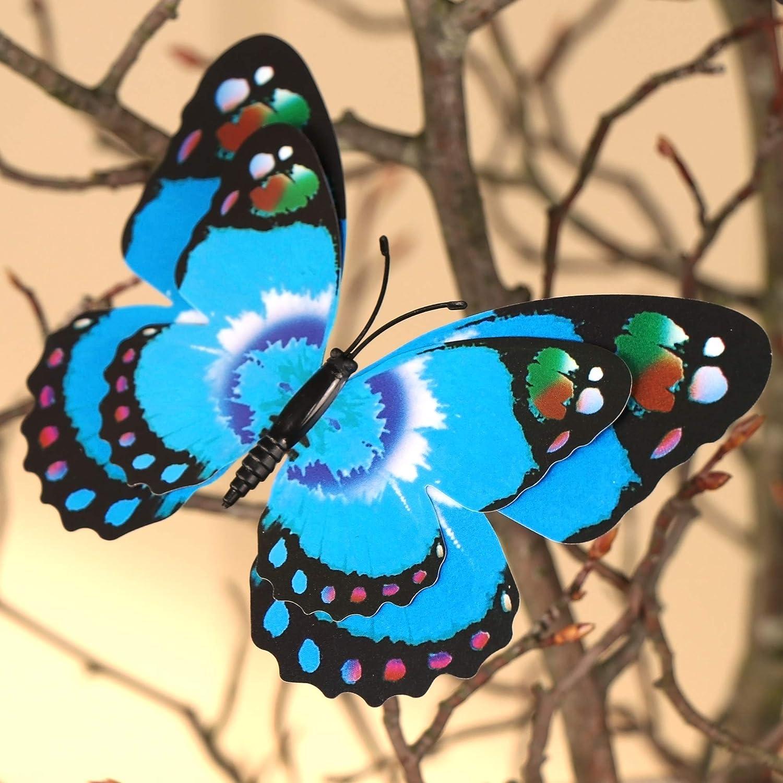 COM-FOUR/® Set di 8 Farfalle Decorative con Clip da attaccare in Diversi Colori 08 Pezzi - Grande la Selezione dei Motivi Varia