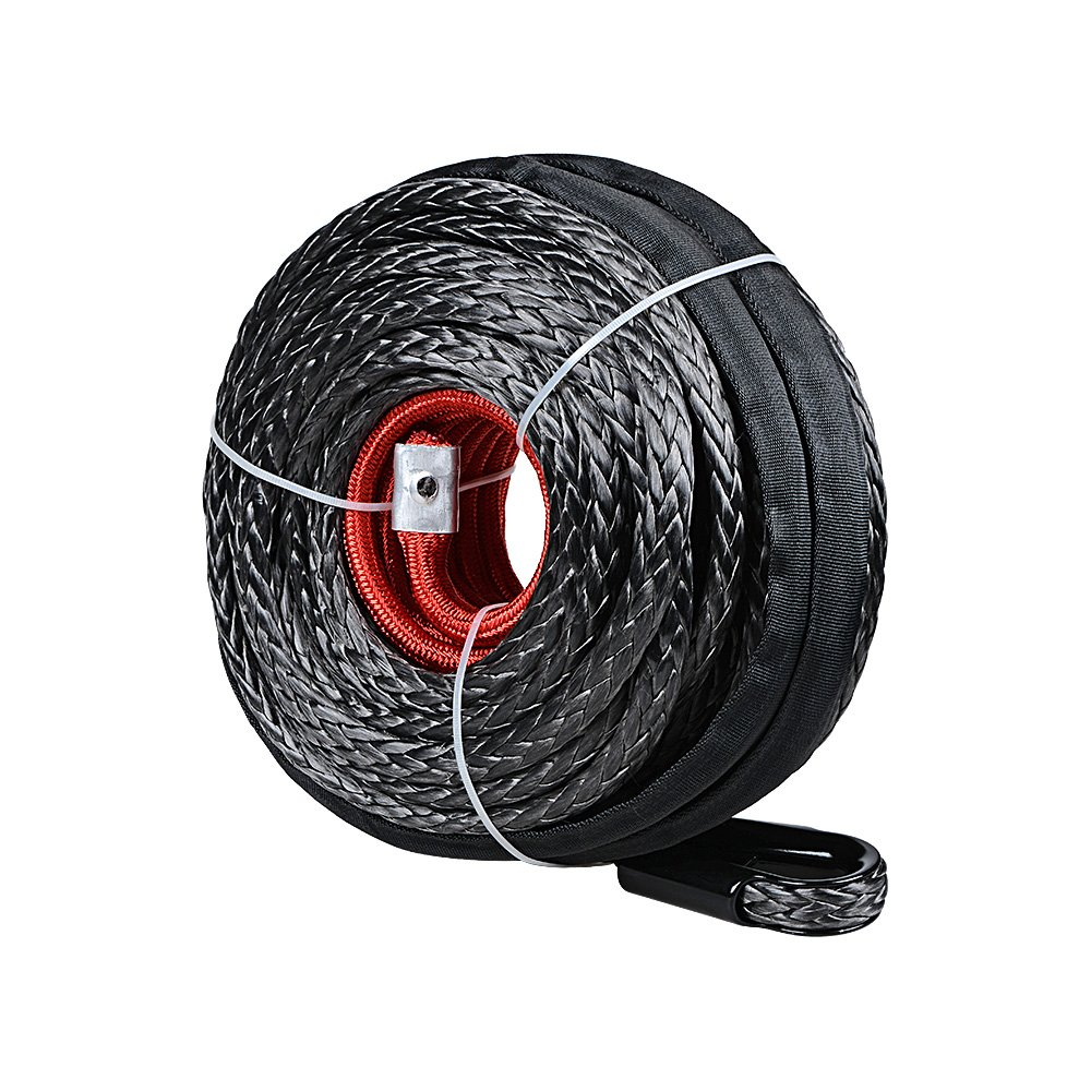 Synthetic Winch Line Cable Rope 92ft X 1/2 Inch 22000LBS w/ Protective Sleeve for SUV ATV UTV Jeep Truck Boat Ramsey (without Hook) Winch Cable Rope