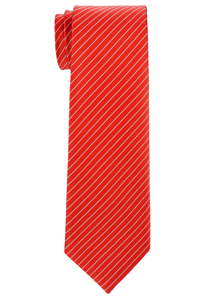 Retreez Stylish Pin Stripes Woven Boy's Tie (8-10 years) - Red with White