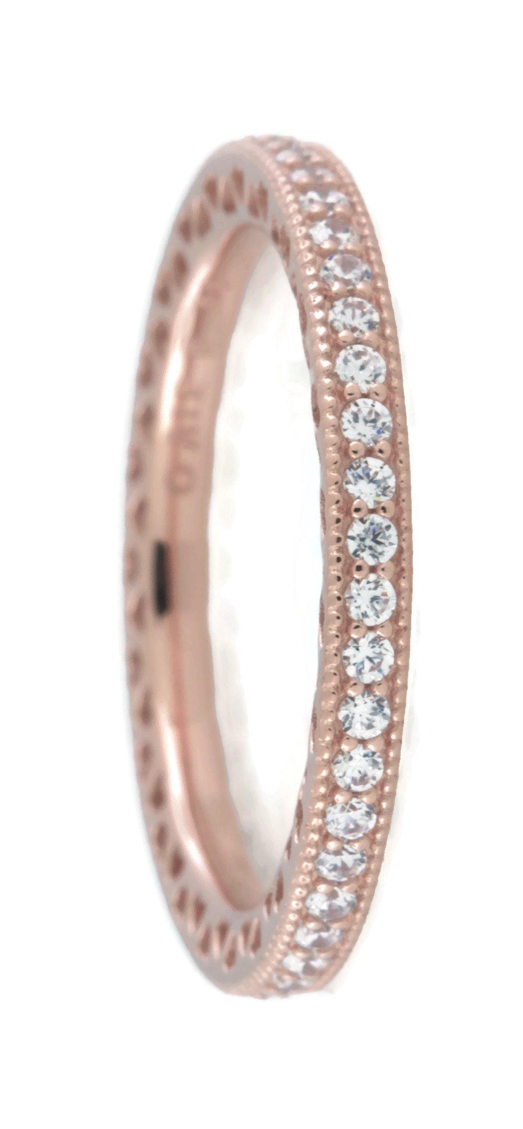 PANDORA Hearts of PANDORA Ring, Rose Gold And Clear CZ, 180963CZ (50)