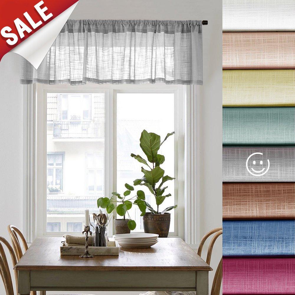 Linen Look Sheer Valance Bedroom 16 inch Length Valances Windows Rod Pocket Curtain Valance Grey Living Room, 1 Panel, Grey by jinchan (Image #1)