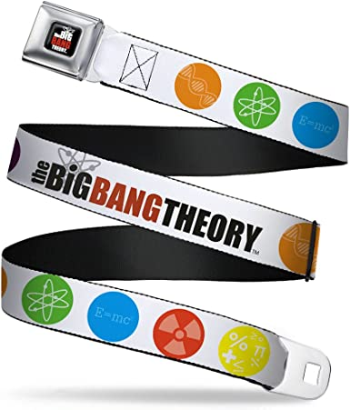 Buckle-Down Seatbelt Belt THE BIG BANG THEORY DNA//Atom//E//Radiation White 1.5 Wide 24-38 Inches in Length