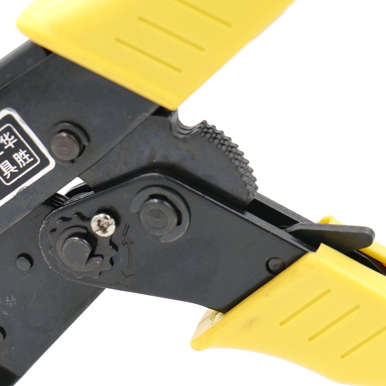 Jaune Heschen /à cliquet Pince /à sertir Pince Hs-03b Bornes non isol/ées et r/éceptacle /à sertir outils /à utiliser pour 1,5 6/mm/² 15/–10/AWG