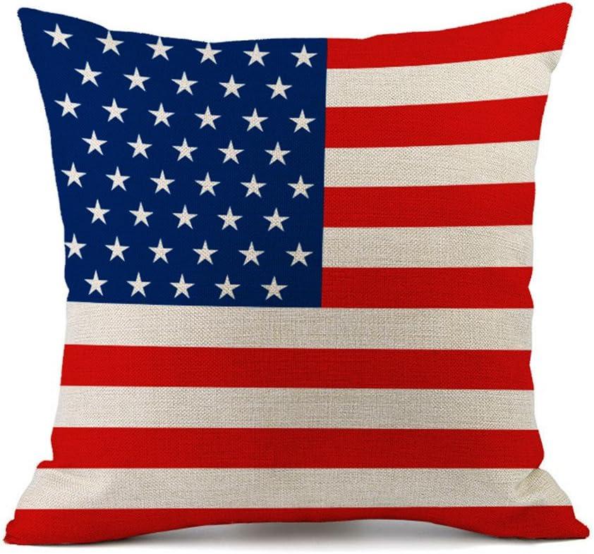 Bandera de almohada algodón Lino decorativa Funda de cojín sofá Auto Home Decor 45 x 45 cm America: Amazon.es: Hogar