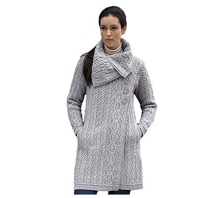 100% Merino Wool Aran Crafts Ladies 3 Button Long Cardigan Grey, Large