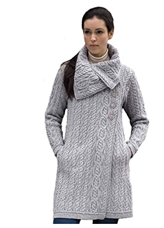 100% Merino Wool Aran Crafts Ladies 3 Button Long Cardigan Sweater Jacket