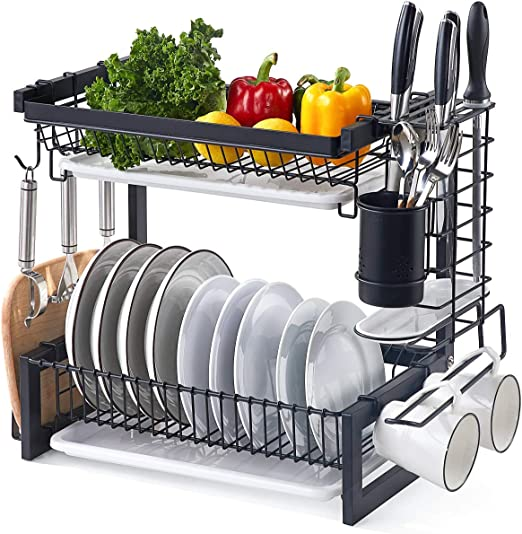 Istboom Stainless Steel Dish Drainer Black 2 Tier Dish Drying Rack Kitchen Counter Organizer And Storage Drainboard Utensil Holder Cutting Board Holder Hooks Kitchen Dining