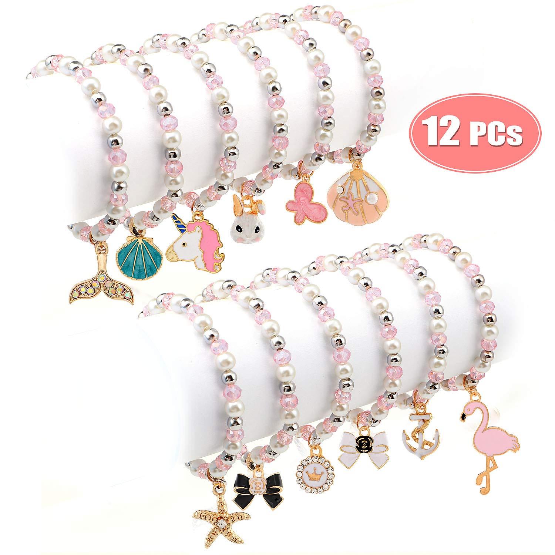 Bascolor Bracelets für Teen Girls Pearl Pink Beaded Unicorn Animals Pendant Toddler Bracelets Crystal Party Favor Costume Kids Jewelry Princess Pretend spielen Bracelets für Girls