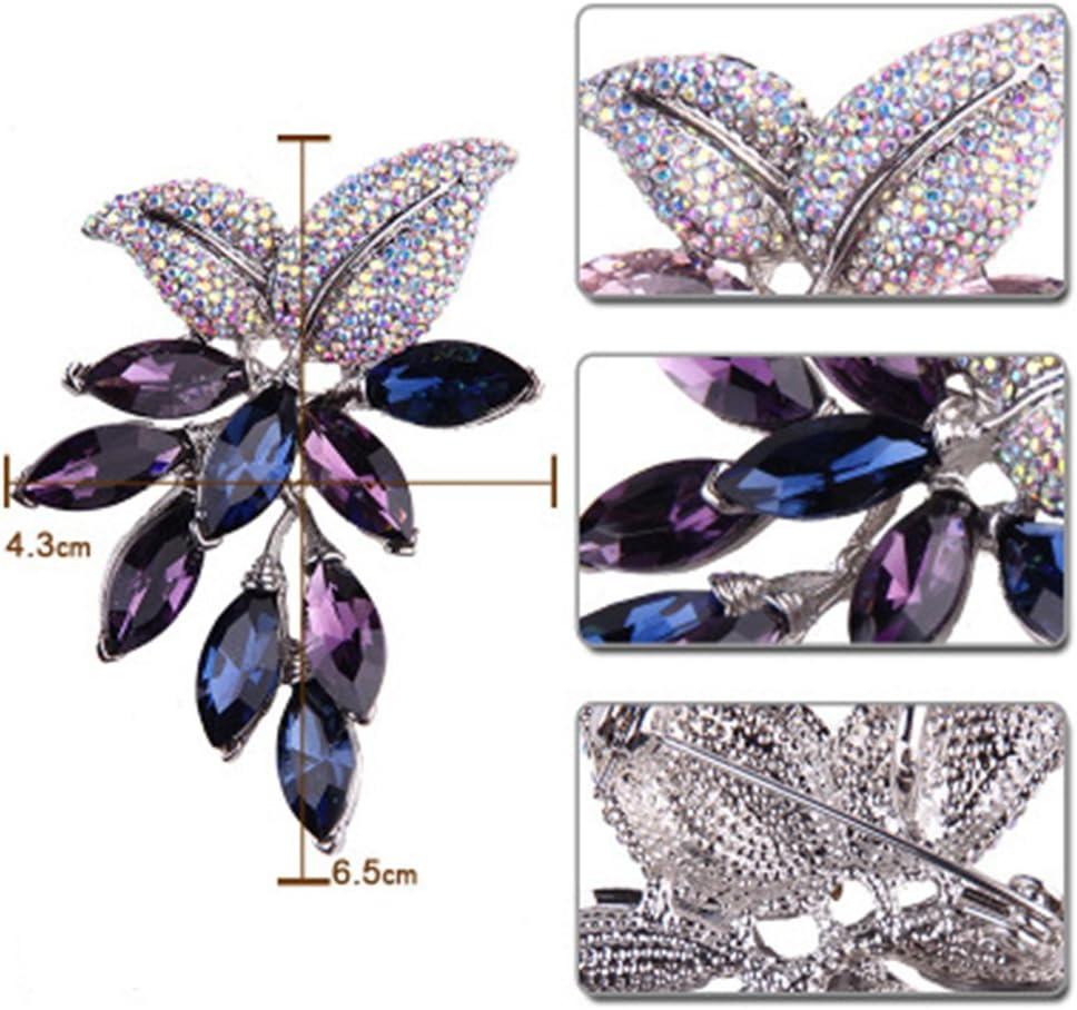 WANGSENSEN Vintage Style Brooch Fancy Pin Purple Crystal Lady Design Crystal Brooch High-End Lady Crystal Wedding Bouquet Brooch