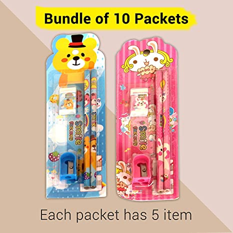 Buy TIED RIBBONS Birthday Return Gifts For Kids Childrens Boys GirlsPack Of 10 Each Pack Contains 2 Pencils 1 Eraser Pencil Sharpner