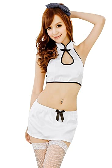 Shangrui Mujer Blanco Tipo Partido de Pijamas Sin Espalda de la Blusa y la Falda Traje