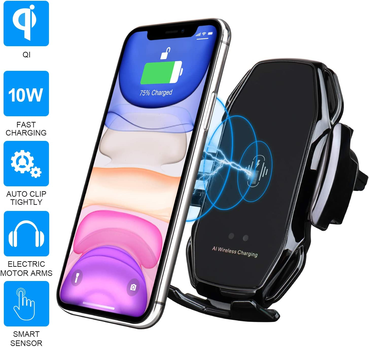 10W Qi Fast Charging Auto-Clamping Car Mount Samsung S10//S10+//S9//S9+//S8//S8+ AnsTOP Wireless Car Charger Car Phone Holder Mount Air Vent Compatible iPhone 11//11 Pro//Pro Max//Xs Max//XS//XR//X//8//8+