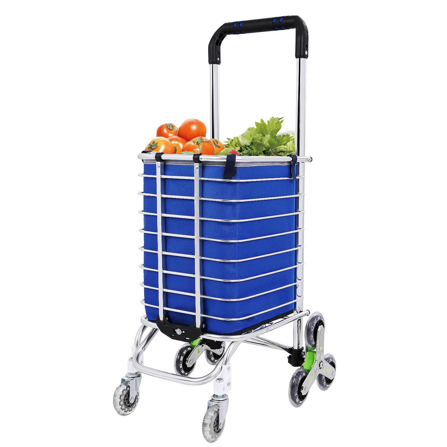 Anfan Folding Shopping Cart Heavy Duty Stair Climbing Grocery Utility Cart with Rolling Swivel wheels and Removable Waterproof Canvas Bag