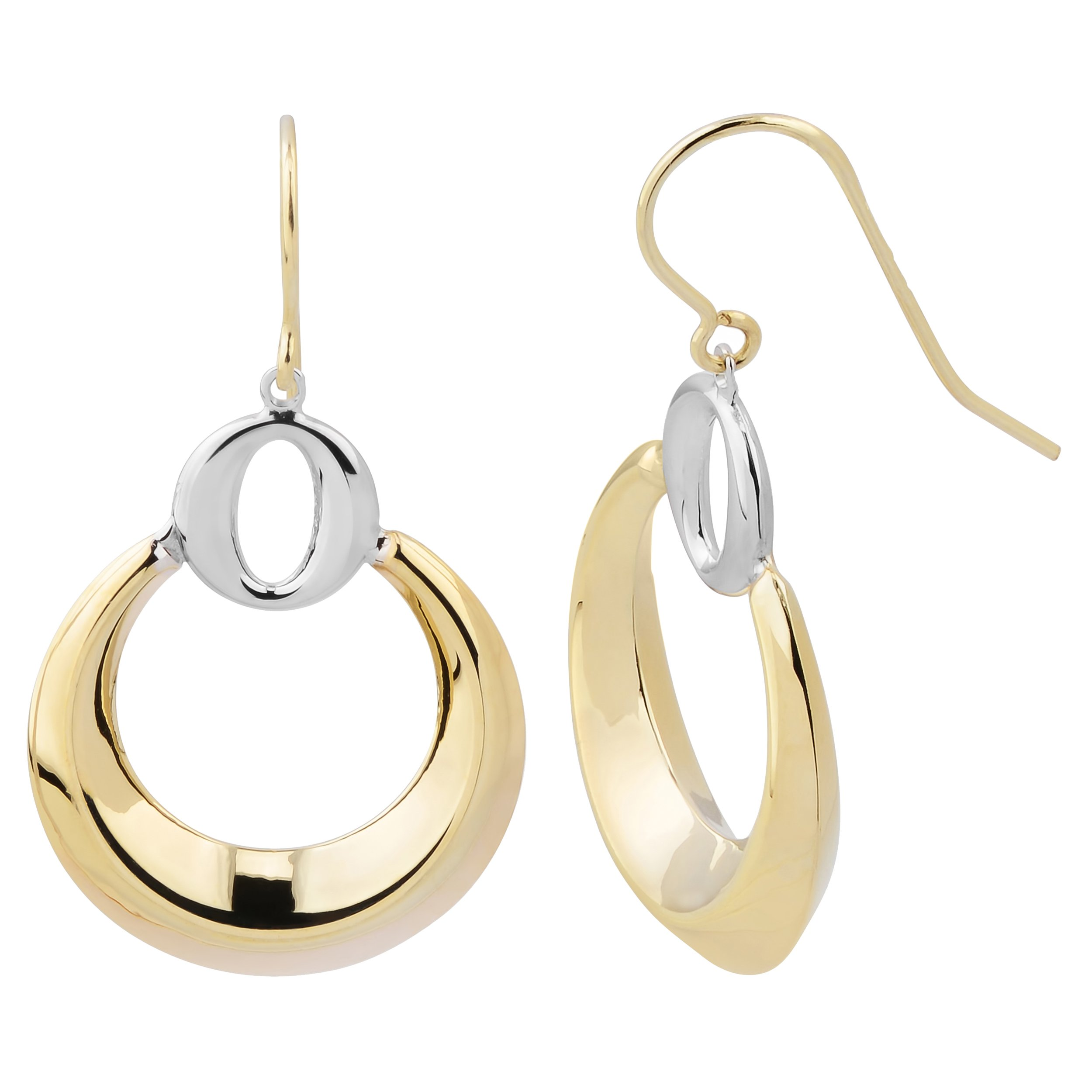 14k Two-tone Gold Crescent Moon And Circle Drop Earrings