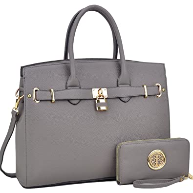 DASEIN Women s Purses and Handbags Shoulder Bags Ladies Designer Tote Bags  Padlock Satchels with Wallet d860ead868d22