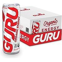 GURU Lite Organic Energy - Low Sugar Vegan Drink with Green Tea, Stevia & Monk Fruit 12 ounce (Pack of 24)