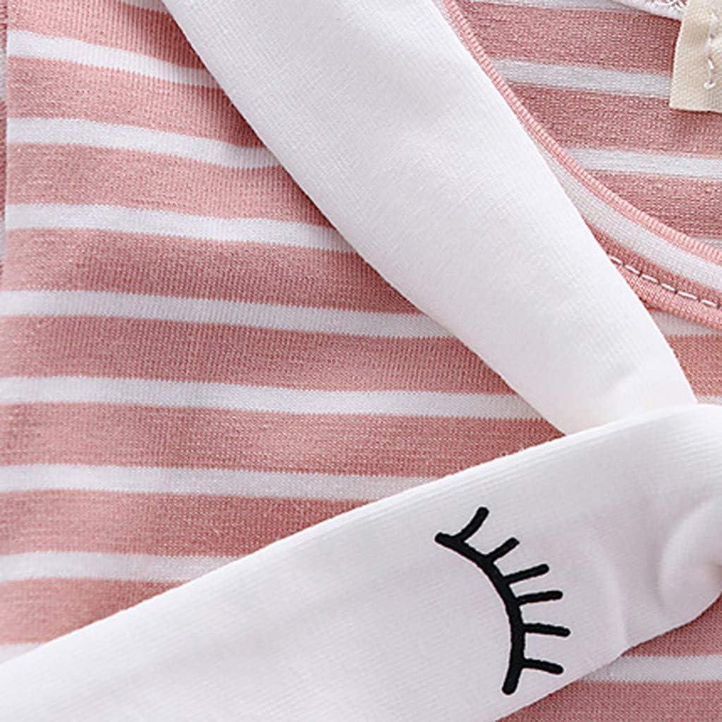 Vinjeely Baby Girl Cute Striped Lace Short Sleeve Eyes Print Dress Toddler Girls Dress