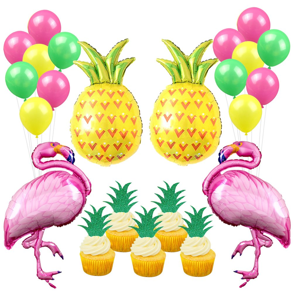 Flamingo Pineapple Party Decorations Tropical Party Flamingo and Pineapple Balloons Pineapple Cupcake Toppers for Summer Party Decorations