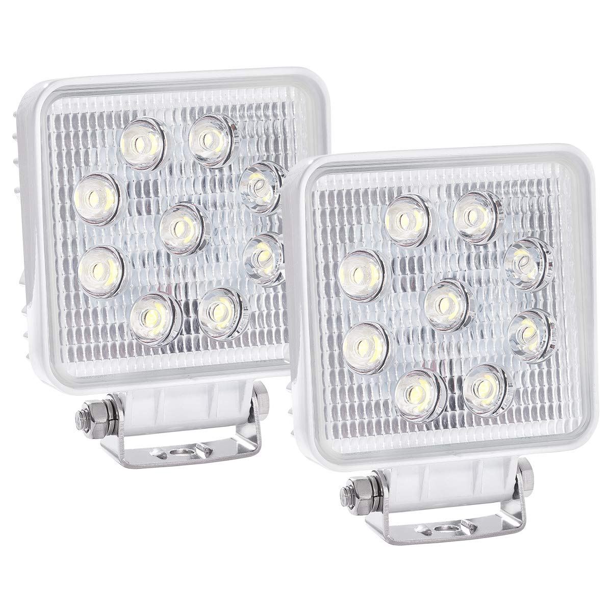 WFPOWER Boat Light 2 Pack, LED Marine Spotlights Waterproof, Deck Dock Flood Light Work Light for Boat Accessories Pontoon Fishing Truck SUV Off-Road 12V Square White by WFPOWER