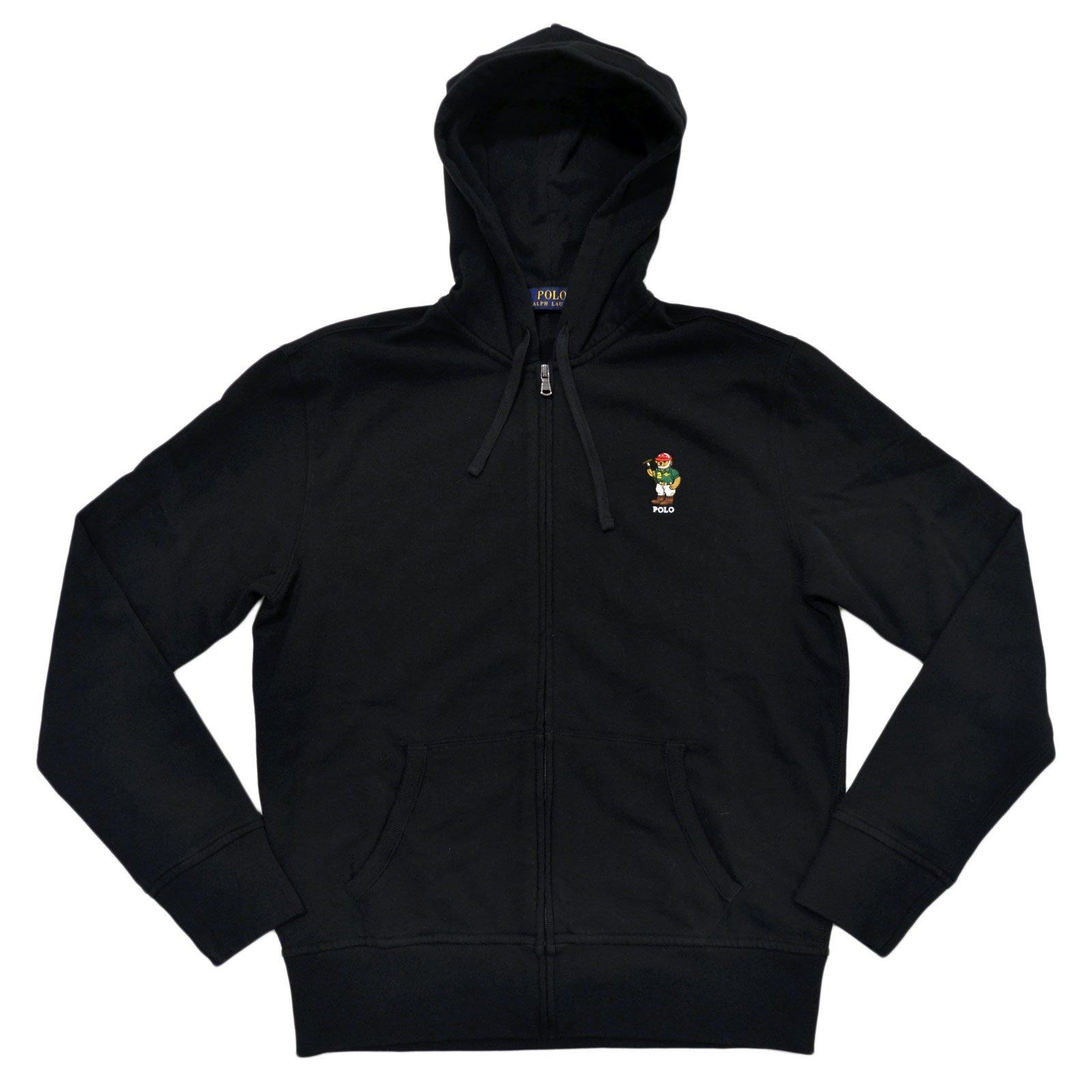 Polo Ralph Lauren Classic Full-Zip Fleece Hooded Sweatshirt with Bear Logo, BLACK (M)