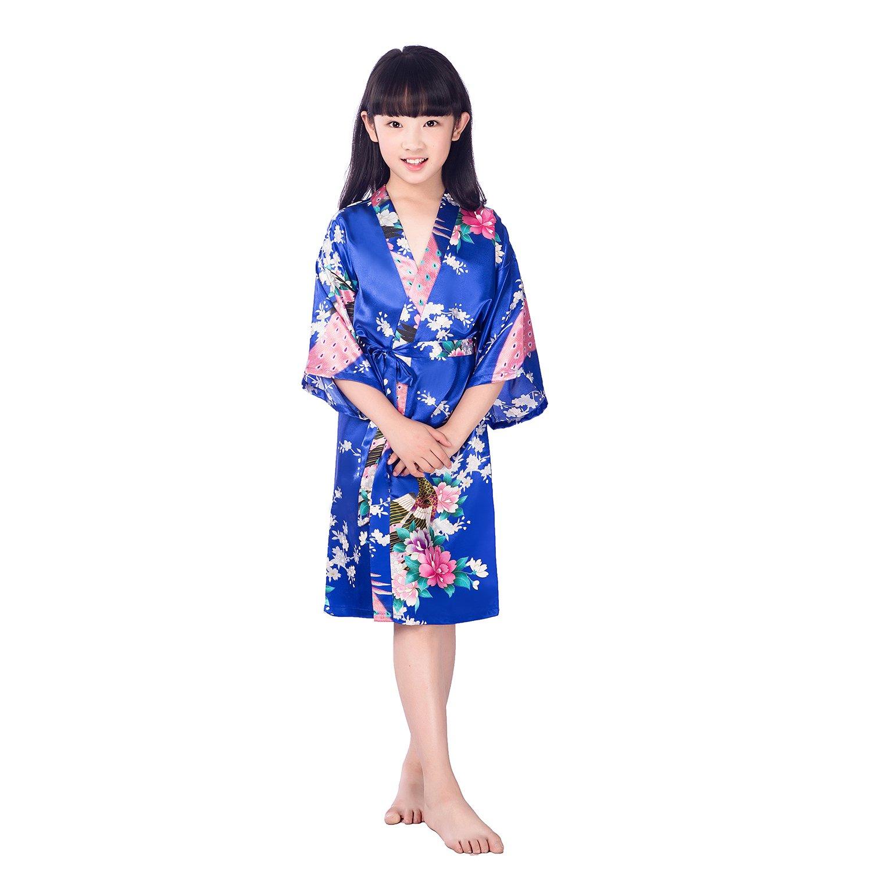 7832a7731e0e9c ALJL Kinder Nachthemden Haus Kleidung Kimono Männer und Frauen Tierdruck  Seide Pyjamas Blau Bademäntel,Navy