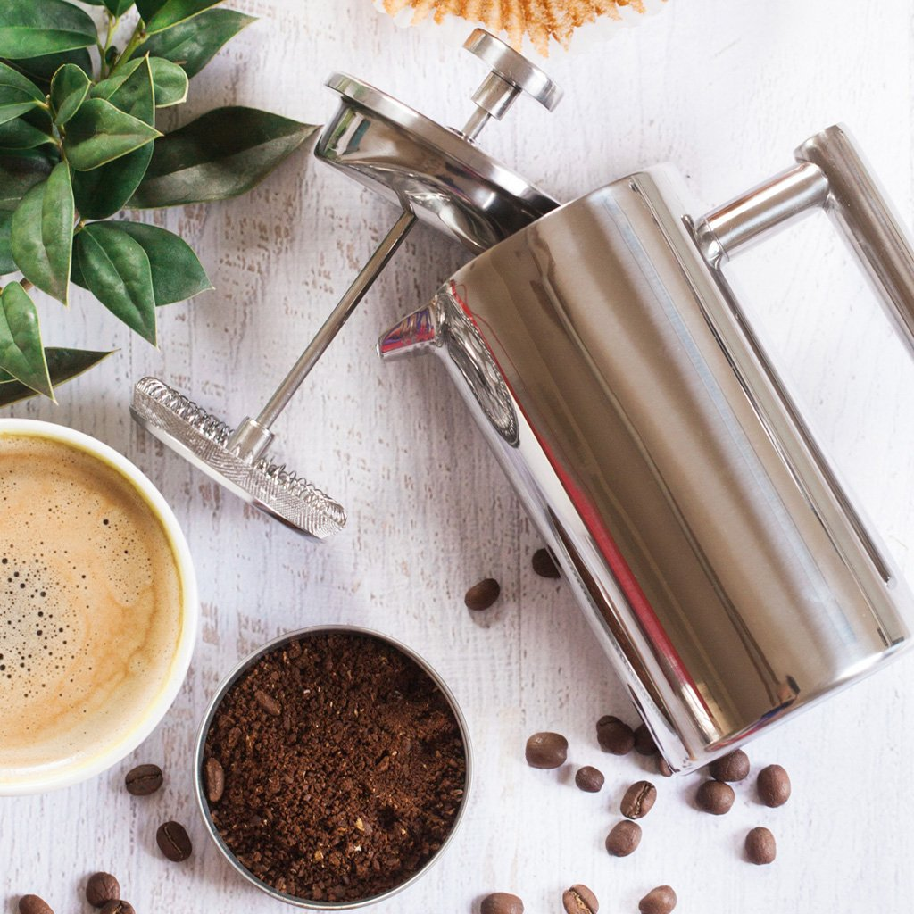 MIRA 34 oz Stainless Steel French Press Coffee Maker with 3 Extra Filters Double Walled Insulated Coffee Tea Brewer Pot Maker Keeps Brewed Coffee or Tea Hot 1000 ml