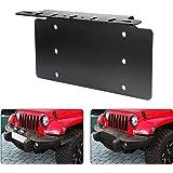 AUXMART License Plate Mounting Bracket Front Bumper LED Light Bar License Plate Bracket Holder Fit for Most Trucks, Pickups,