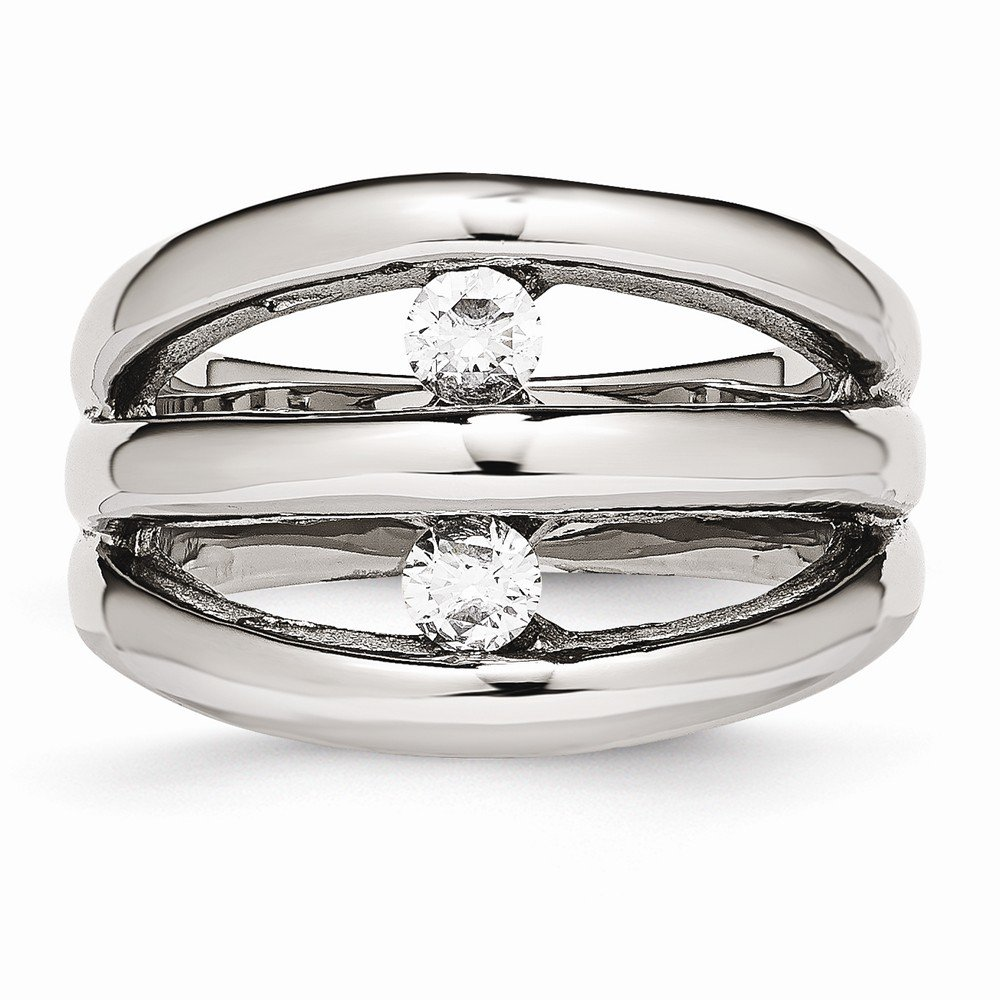 Saris and Things Stainless Steel Polished CZ Ring 6 to 9 Size