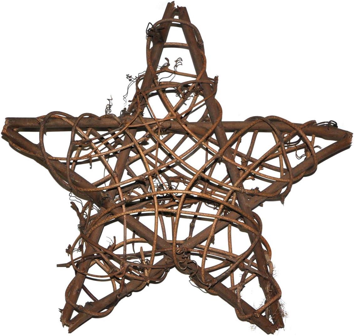"Ougual 2pcs 10"" Natural Rattan Vine Stars Treetop Decoration"
