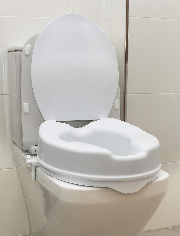 OrtoPrime Elevador WC Con Tapa - Altura 10 cm - Asiento de Inodoro Ortopédico con cierres Laterales de Seguridad - Alzador wc Fijación Universal Adaptable - Alza Inodoro Peso Máx