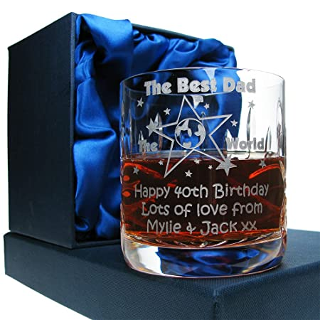 Dads 40th Birthday Gift Engraved Cut Crystal Best Dad In The World 10oz Whisky Glass Presentation Box Mens Amazoncouk Kitchen