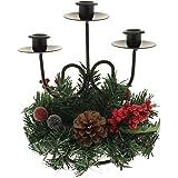 WeRChristmas - Ghirlanda portacandele con decorazione natalizia, 22 cm, pigna naturale e bacche, supporto per tre candele; decorazione natalizia