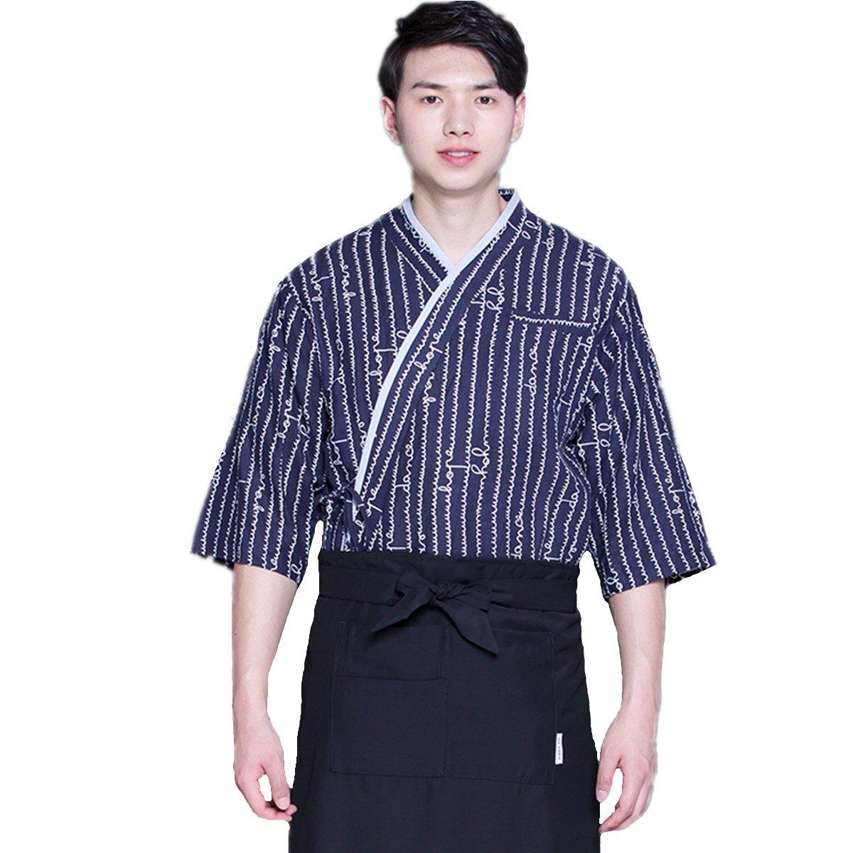 XINFU Sushi Chef Uniform Blue Waves 3/4 Long Sleeve Restaurant Japanese Kitchen Work Coat
