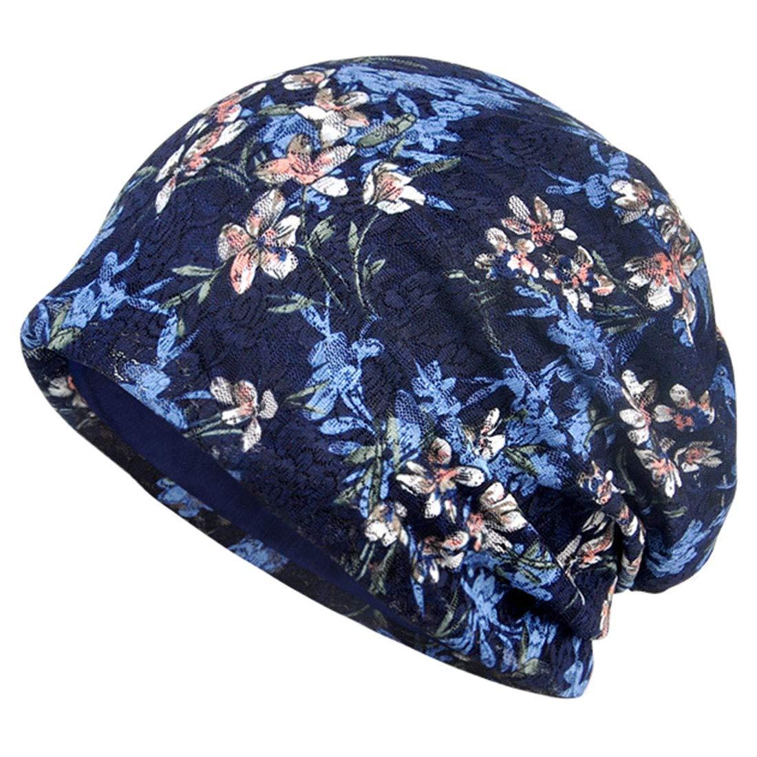 YONKINY Gorro Quimioterapia Para Mujer Verano Sombrero Algod/ón Transpirable Turbante Gorro Flor Impresi/ón Gorra De Noche Hip-Hop Slouch Beanie Hat Para Al Aire Libre Running
