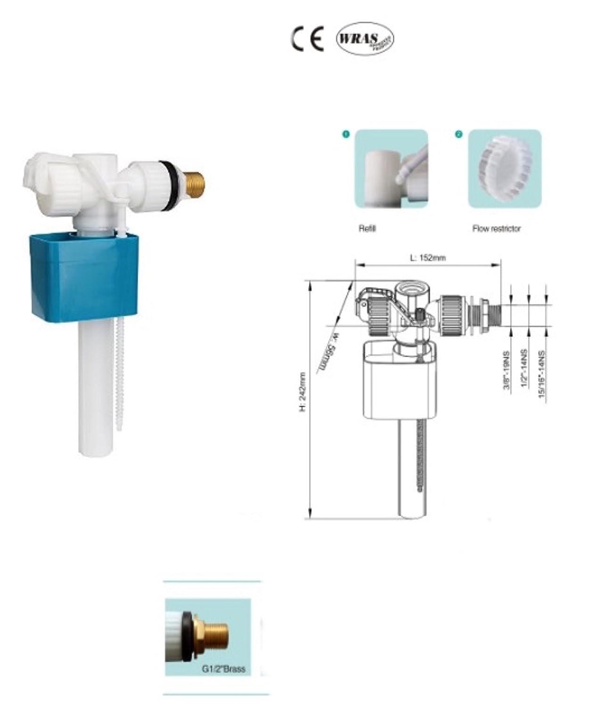 Messing Low Noise 1//2/Seite Eintrag WC F/üllventil CE UPC und Wras.