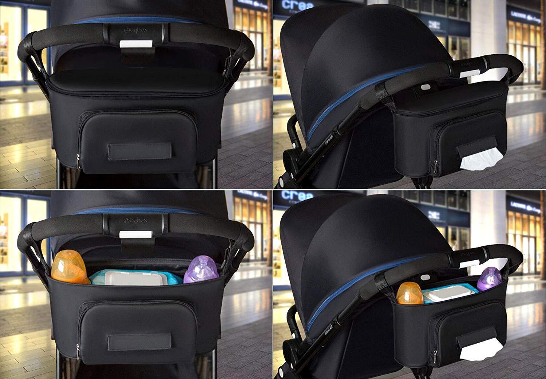 Gris BangShou Bolsos Carro Beb/é Bolsas Paseo Organizador Gran Capacidad Oxford Bolsas Organizador Carro Silla Paseo Negro