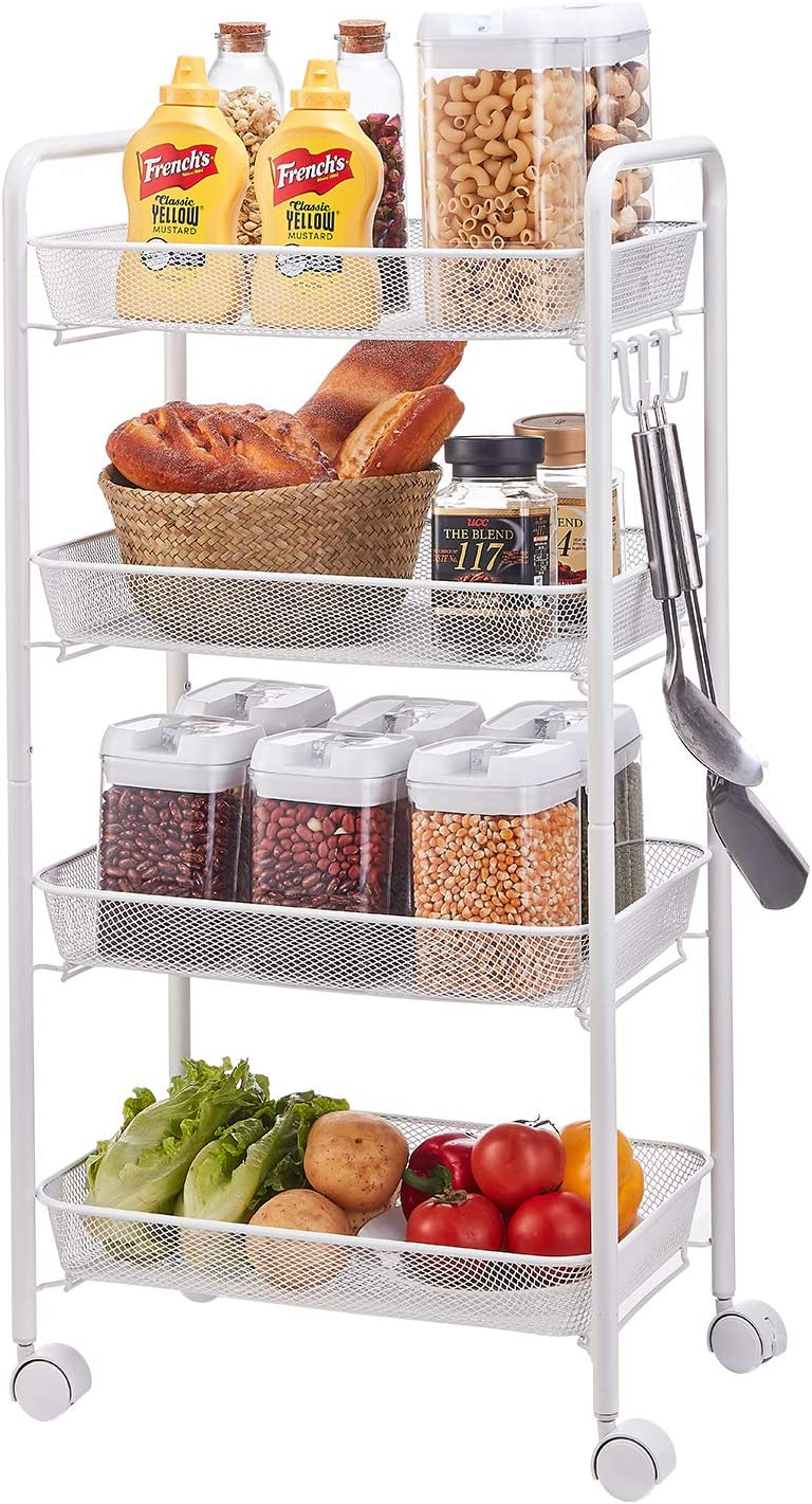 YIUKEA Mesh Rolling Utility Cart 4-Tier Metal Storage Organizer with Steel Wire Baskets and Lockable Caster Wheels,Multifunction Shelving Trolley Cart for Kitchen Bathroom