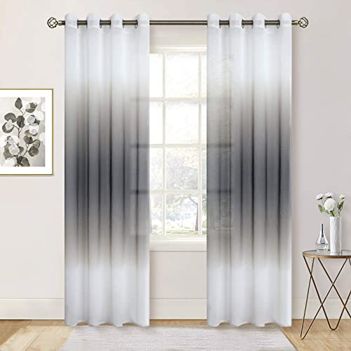 BGment Faux Linen Ombre Sheer Window Curtain